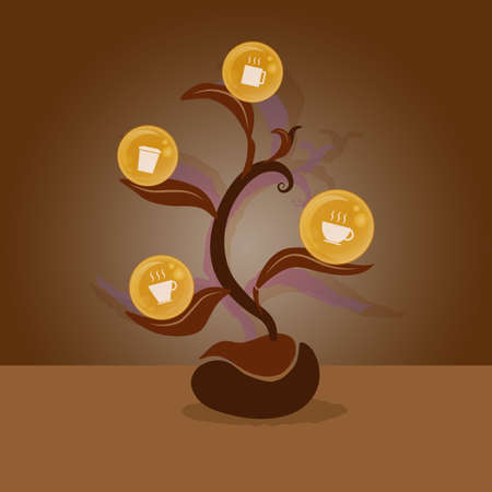 coffee tree: Coffee cup icon on leaves, grow from coffee bean.  You can make many type of coffee cencept