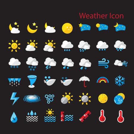 pluviometro: Estilo plano clima icono conjunto de vectores para el diseño web, móvil, internet, aplicaciones, obras de arte, etc