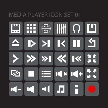 media player flat style  icon set for your web, mobile or any device