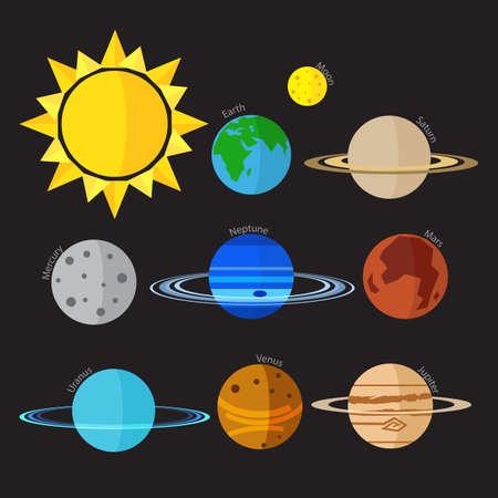 systeme solaire: Le style plat syst�me solaire vecteur ic�ne