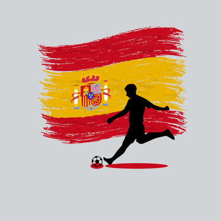 Soccer Player action with Kingdom of Spain flag on background  Vector