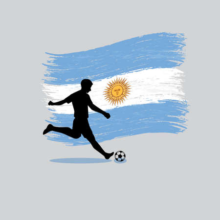 argentine: Soccer Player action with Argentine Republic flag on background