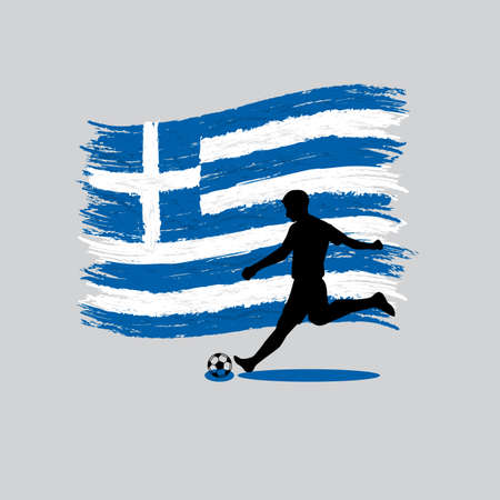 hellenic: Soccer Player action with Hellenic Republic (Greece) flag on background