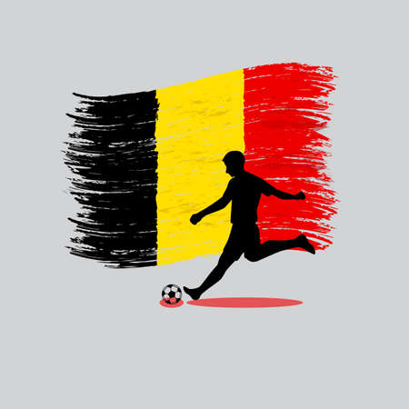 Soccer Player action with Kingdom of Belgium flag on background  Vector