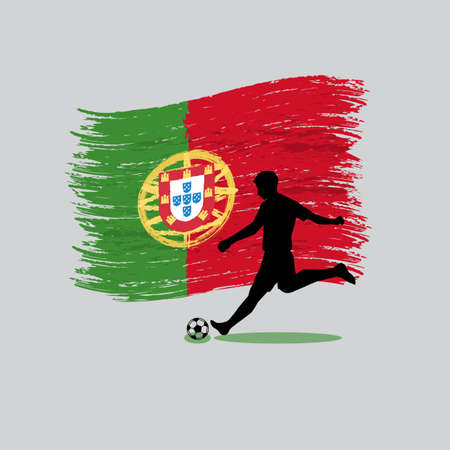 Soccer Player action with Portuguese Republic flag on background  Vector