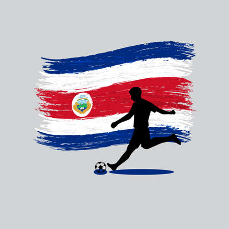 costa rica flag: Soccer Player action with Republic of Costa Rica flag on background