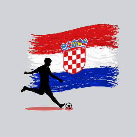 Soccer Player action with Republic of Croatia flag on background  Vector