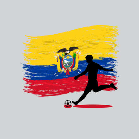 Soccer Player action with Republic of Ecuador flag on background  Vector