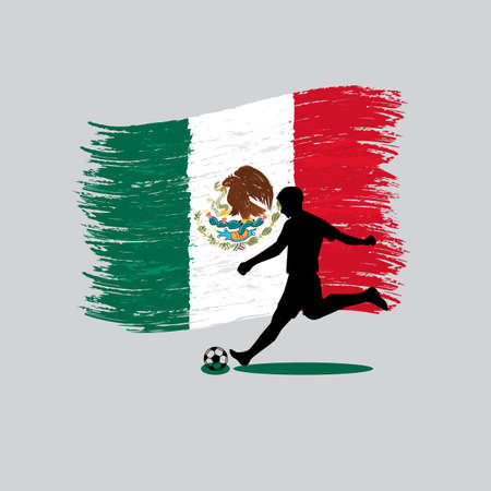 mexico flag: Soccer Player action with United Mexican States flag on background  Illustration