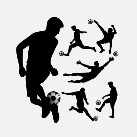 attacker: Soccer player action silhouettes with ball set for your design Illustration