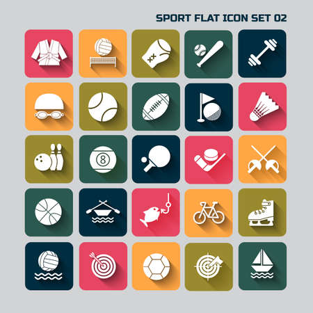 sport flat  icon set  with long shadow for web and mobile set 02