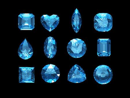 Group of  aquamarine shape with clipping path
