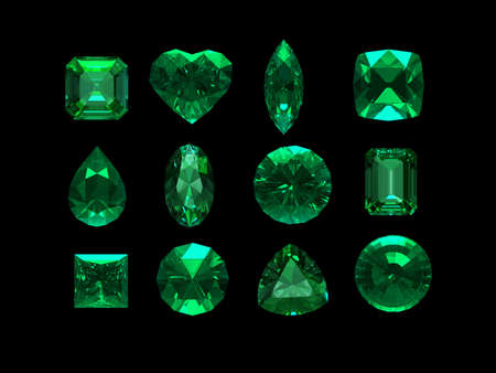 emerald stone: group of emerald shape with clipping path Stock Photo