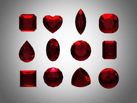 Group of  garnet  shape with clipping path photo