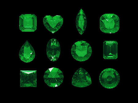 green tourmaline: Group of green tourmaline shape with clipping path (Chrome) Stock Photo