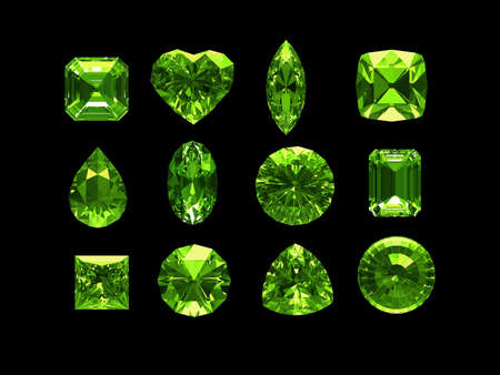 trillion: Group of peridot with clipping path