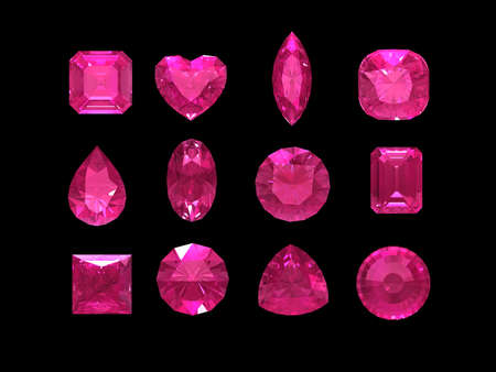 Group of pink tourmaline shape with clipping path (Rubellite)