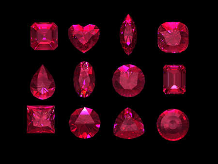 ruby stone: Group of  ruby shape with clipping path Stock Photo