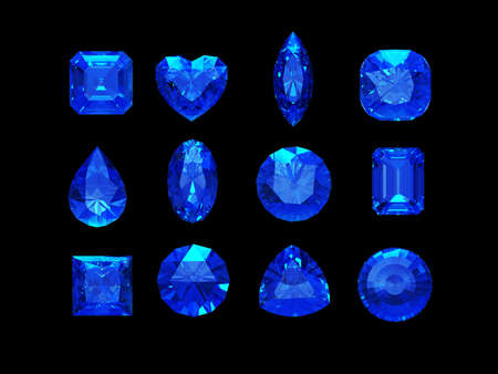 heart of stone: Group of  blue sapphire shape with clipping path