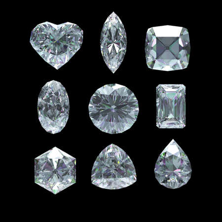 Group of diamond shape with clipping path photo