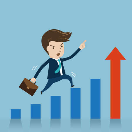 Businessman jumping over growing chart. cartoon vector for growing business concept.