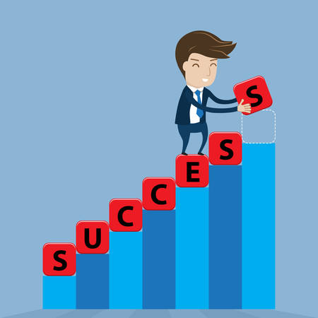 is thriving: Businessman places cube lettering success word on stairway. Vector illustration for success concept.