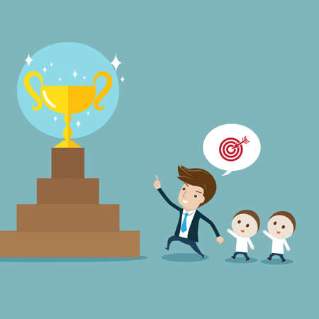 Businessman pointing  and leading followers to target. Vector cartoon for leadership, target, goal, achievement, teamwork or motivation concept