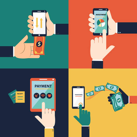 transferring: Flat design vector concept of mobile banking or online banking. This set consist of withdraw money, deposit money, Transferring Money and payment