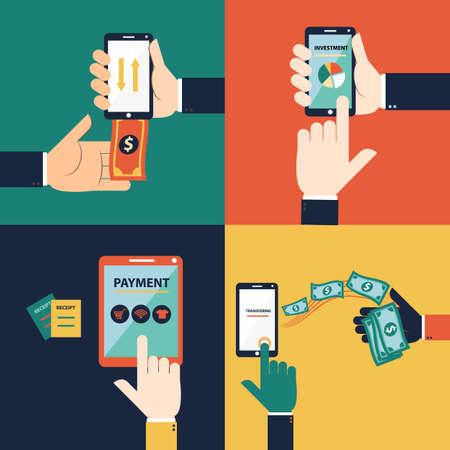 Concepto de vector de diseño plano de banca móvil o banca en línea. Este conjunto consiste en retirar dinero, depositar dinero, transferir dinero y pagar Ilustración de vector