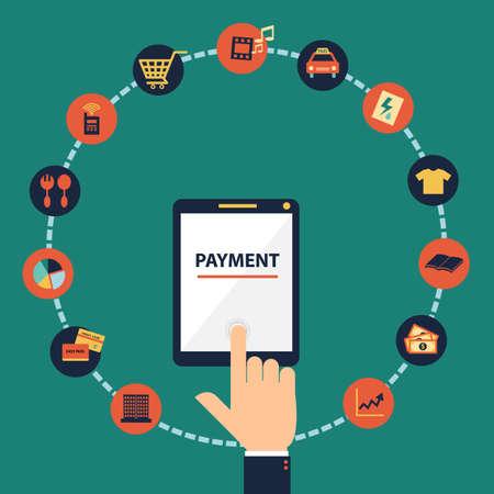 Flat design concept of mobile banking , mobile payment, online banking, online payment via application on smartphone or tablet.   Illustration