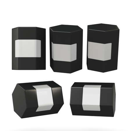 Black hexagon box packaging with clipping path