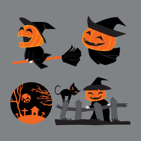 set of Pumpkin head witch  charactor on Halloween 向量圖像