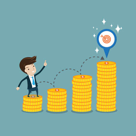 Businessman standing on coin step and  pointing  to target.