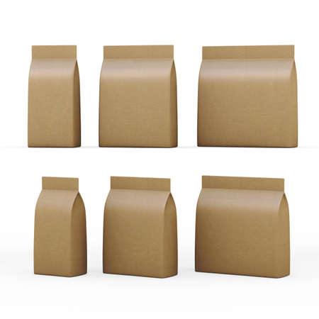 Brown paper bag  packet  with clipping path,  Packaging  or wrapper for a wide variety of product like sweet, snack, milk powder, coffee, salt, sugar, powder,detergent, seed, pet food, or cereal , ready for your design or artwork Banco de Imagens - 32360257