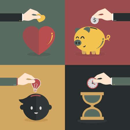 Flat style vector hand saving money, time, heart and idea. Stock Illustratie