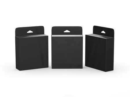 box design: Black blank box  Product Package,  package with Hang Slot for many type of product like ink cartridge, electronic or  stationery.  ready for  Your Design and artwork