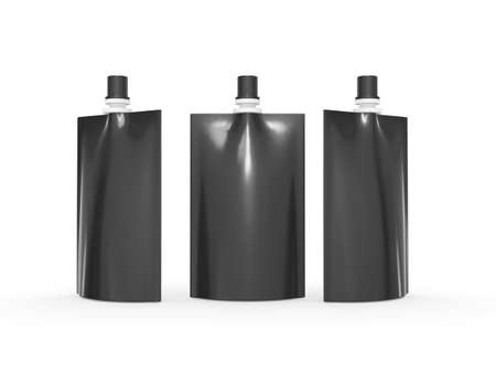 Black  blank juice  bag packaging with spout lid. Plastic pack mock up for liquid product like fruit juice, milk or jelly, Ready for design and artwork