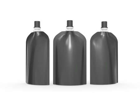 Black  blank stand up  bag packaging with spout lid. Plastic pack mock up for liquid product like fruit juice, milk , jelly, detergent, shampoo or shower cream, Ready for design and artwork 版權商用圖片