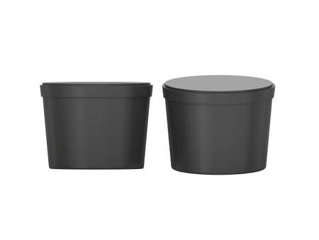 ice bucket: Black blank short Tub Food Plastic Container packaging, Plastic package mock up For Dessert, Yogurt, Ice Cream, Snack or frozen food. Ready For Your Design and artwork