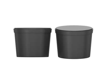 Noir courte ébauche d'emballage alimentaire remous Récipient en plastique, emballage plastique maquette pour le dessert, le yogourt, la crème glacée, snack ou de la nourriture congelée. Prêt pour votre Conception et Design Banque d'images - 32600540