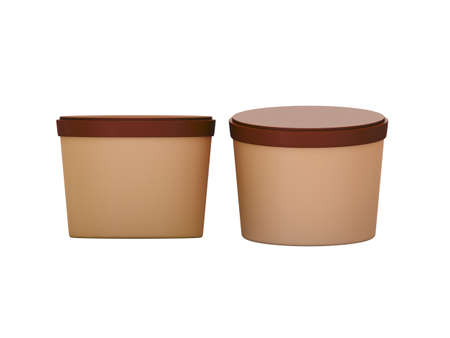 Brown  blank short Tub Food Plastic Container, Plastic package mock up For Dessert, Yogurt, Ice Cream, Snack or frozen food. Ready For Your Design and artwork