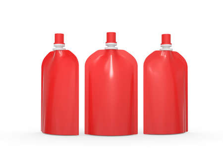 Red blank stand up  bag packaging with spout lid. Plastic pack mock up for liquid product like fruit juice, milk , jelly, detergent, shampoo or shower cream, Ready for design and artwork