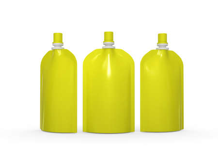 spout: Yellow blank stand up  bag packaging with spout lid. Plastic pack mock up for liquid product like fruit juice, milk , jelly, detergent, shampoo or shower cream, Ready for design and artwork Stock Photo