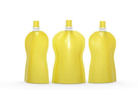 Yellow blank stand up  curve bag packaging with spout lid. Plastic pack mock up for liquid product like fruit juice, milk , jelly, detergent, shampoo or shower cream, Ready for design and artwork 版權商用圖片