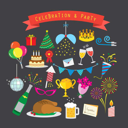 Flat style celebration and party icon vector set