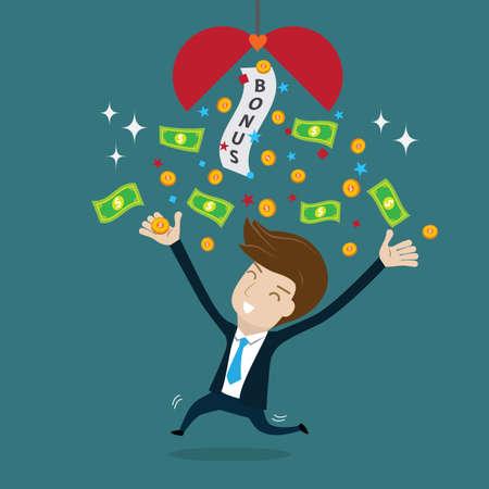 Businessman happy with bonus.vector illustration for success concept. 向量圖像