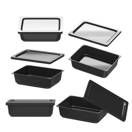 instant noodle: Black rectangle plastic container for food production like fresh food, convenience food or frozen food.