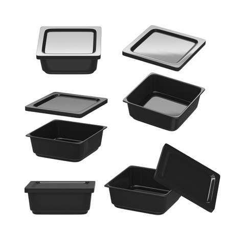 Black square plastic container for food production like fresh food, convenience food or frozen food. Template for  your design or artwork