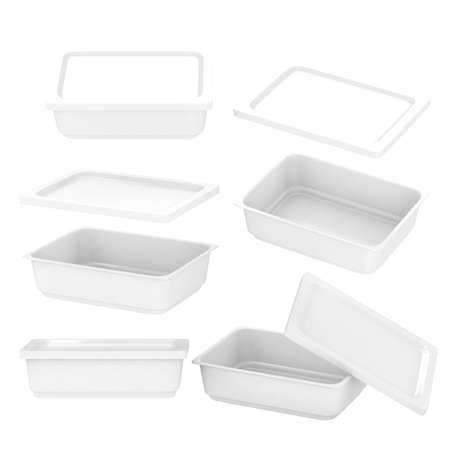White  rectangle plastic container for food production like fresh food, convenience food or frozen food. Template for  your design or artwork photo