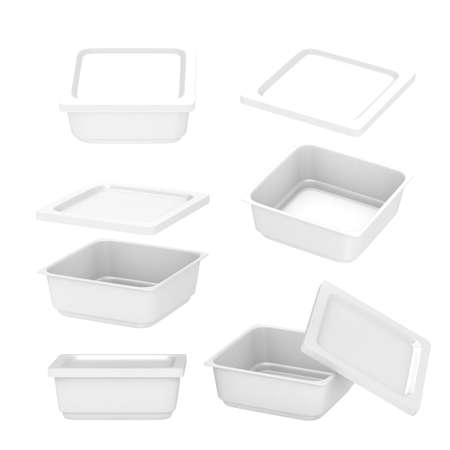 frozen food: White  square plastic container for food production like fresh food, convenience food or frozen food. Template for  your design or artwork